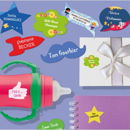 Autocollants personnalisables en forme d'étoile, de coeur, de fanion, de bulle, de moustache et de fusée pour objets placées sur
