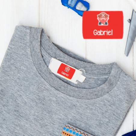 Étiquettes vêtements autocollantes faciles à poser pour chemises, t-shirts, pantalons, bonnets.